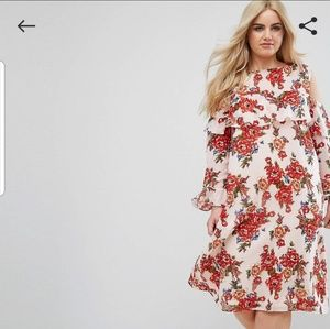 Asos Boohoo plus cold shoulder floral dress